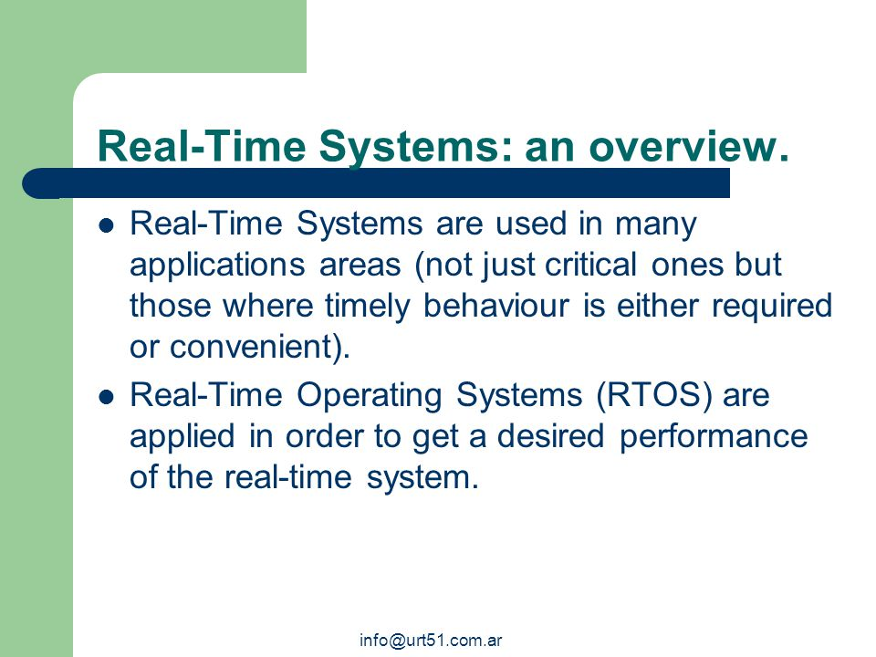An introduction to: The uRT51 Microprocessor and Real-Time Programming Suite. info@urt51.com.ar