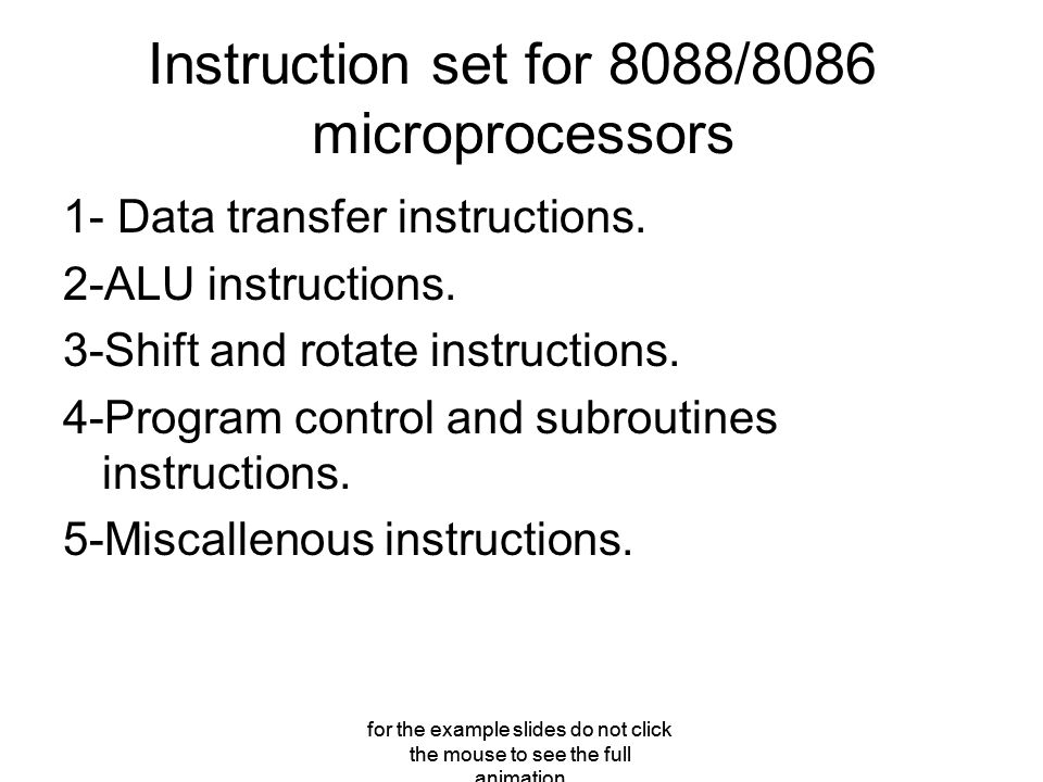 Instruction set for 8088/8086 microprocessors 1- Data transfer instructions.