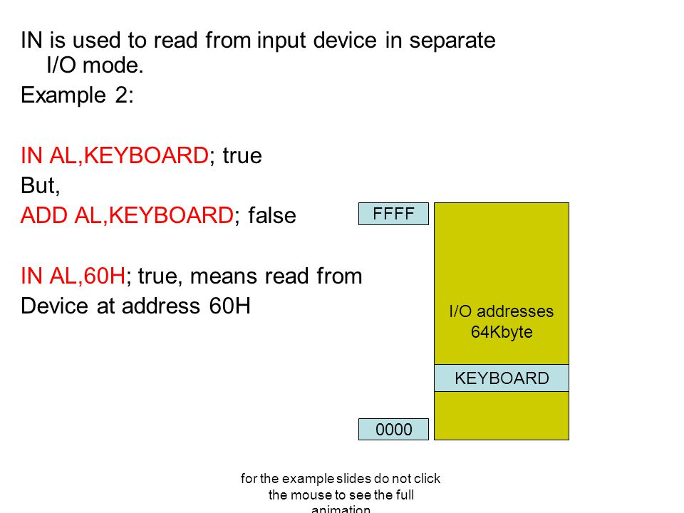 for the example slides do not click the mouse to see the full animation IN is used to read from input device in separate I/O mode.