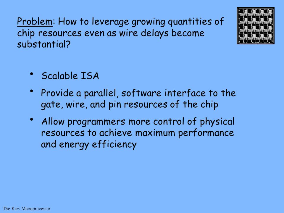 Scalable ISA Provide a parallel, software interface to the gate, wire, and pin resources of the chip Allow programmers more control of physical resources to achieve maximum performance and energy efficiency The Raw Microprocessor Problem: How to leverage growing quantities of chip resources even as wire delays become substantial