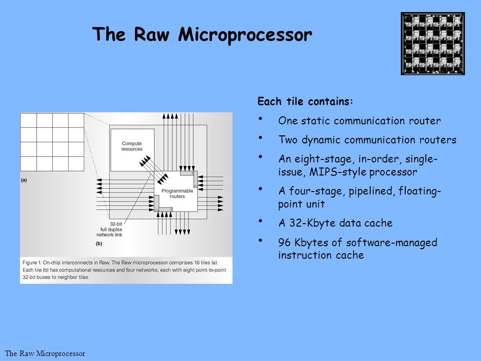 Each tile contains: One static communication router Two dynamic communication routers An eight-stage, in-order, single- issue, MIPS-style processor A
