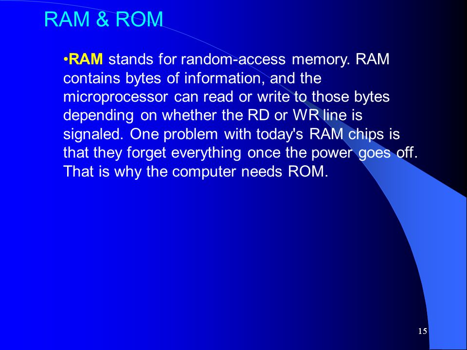 15 RAM stands for random-access memory.