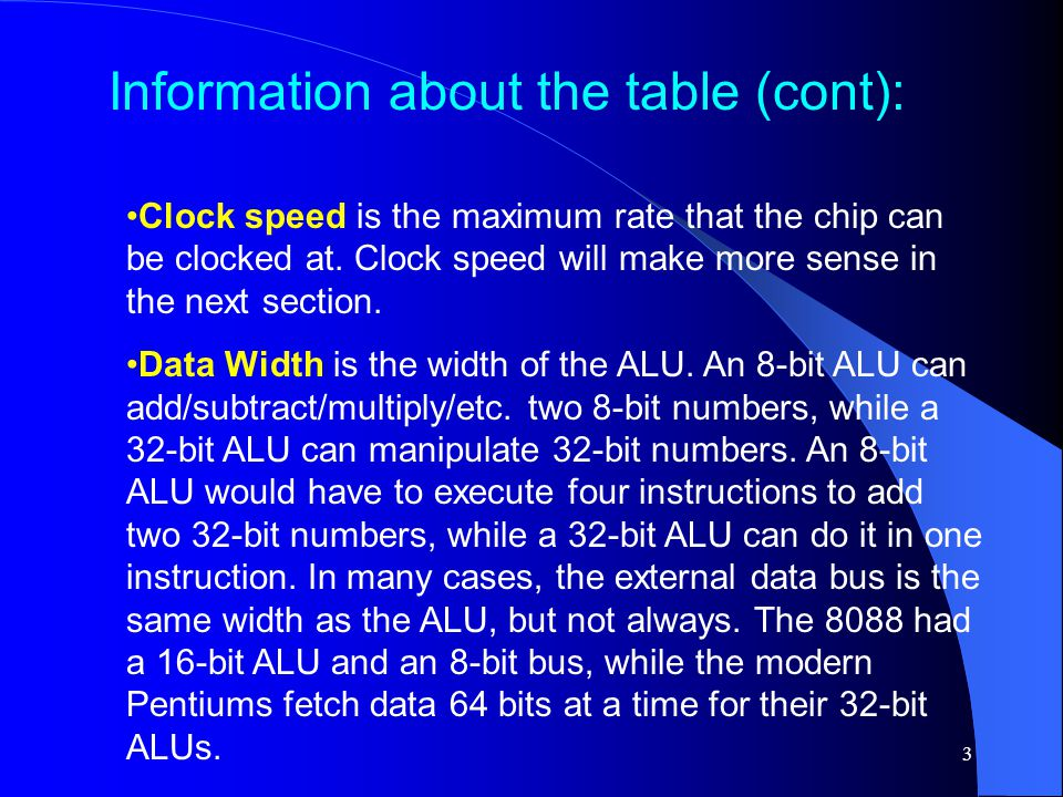 3 Clock speed is the maximum rate that the chip can be clocked at. Clock speed will make more sense in the next section. Data Width is the width of th