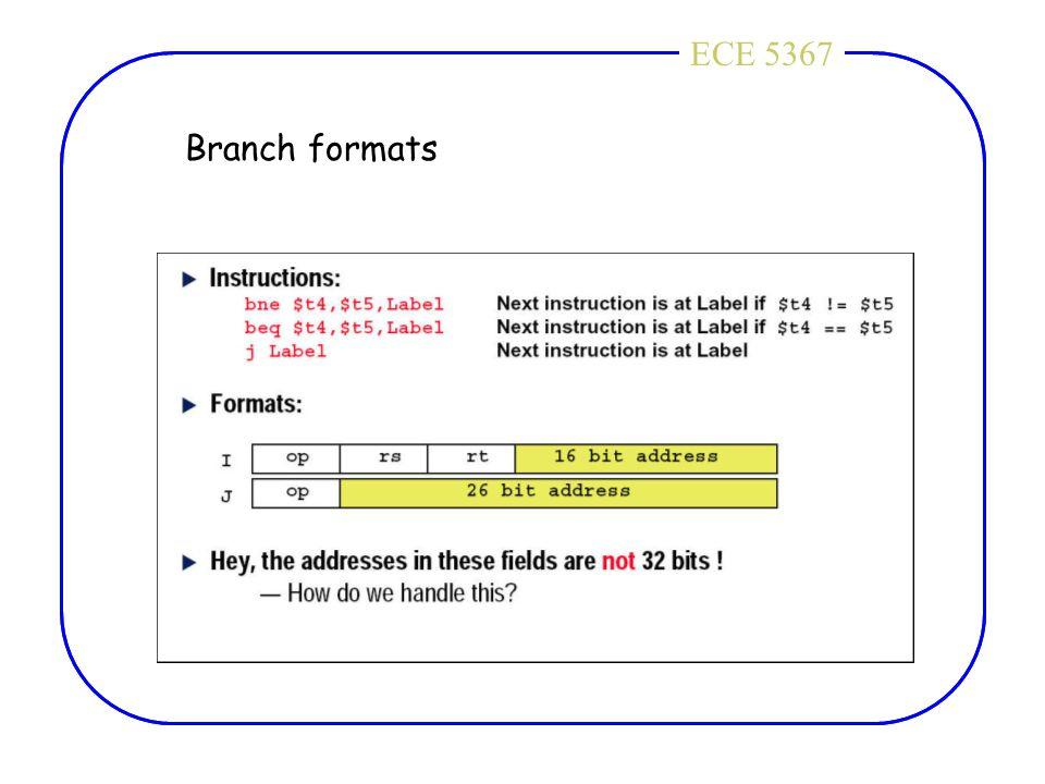 ECE 4436ECE 5367 Branch formats