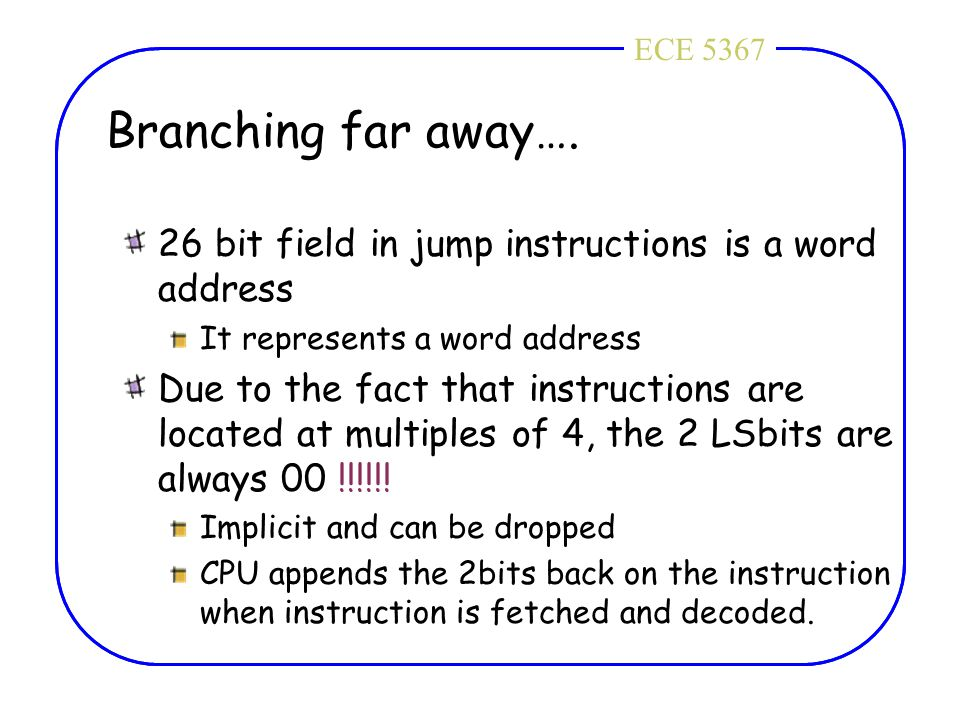 ECE 4436ECE 5367 Branching far away…. 26 bit field in jump instructions is a word address It represents a word address Due to the fact that instructio