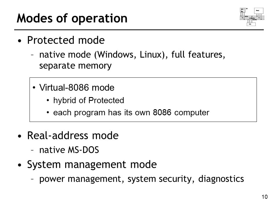 10 Modes of operation Protected mode –native mode (Windows, Linux), full features, separate memory Real-address mode –native MS-DOS System management