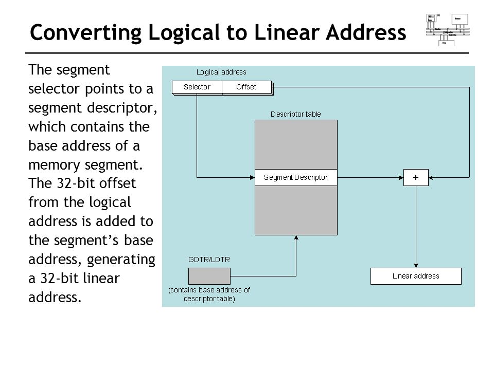 Converting Logical to Linear Address The segment selector points to a segment descriptor, which contains the base address of a memory segment. The 32-