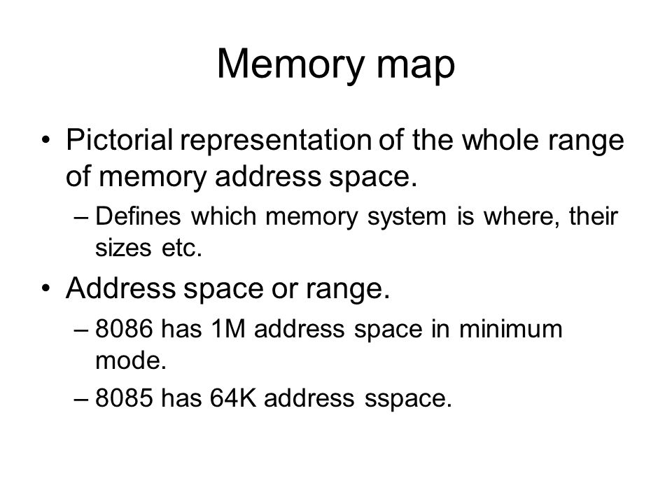 Memory map Pictorial representation of the whole range of memory address space.