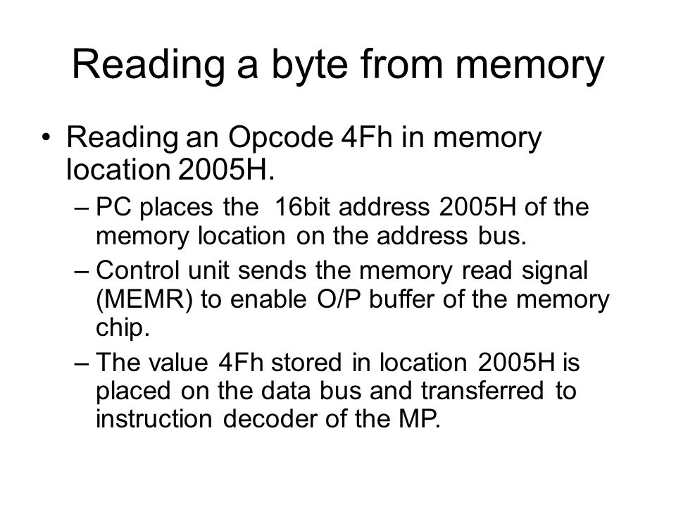Reading a byte from memory Reading an Opcode 4Fh in memory location 2005H.