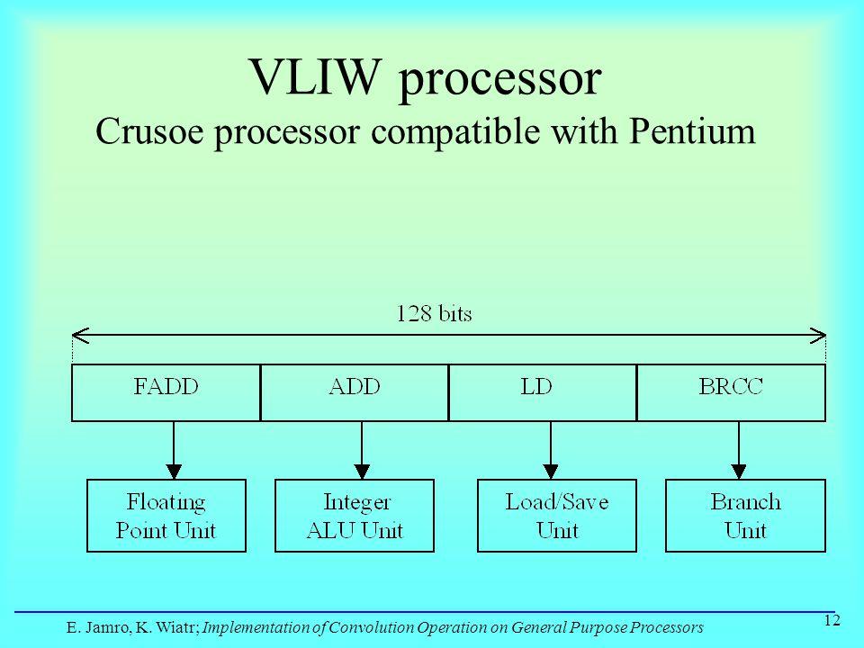 E. Jamro, K. Wiatr; Implementation of Convolution Operation on General Purpose Processors 12 VLIW processor Crusoe processor compatible with Pentium