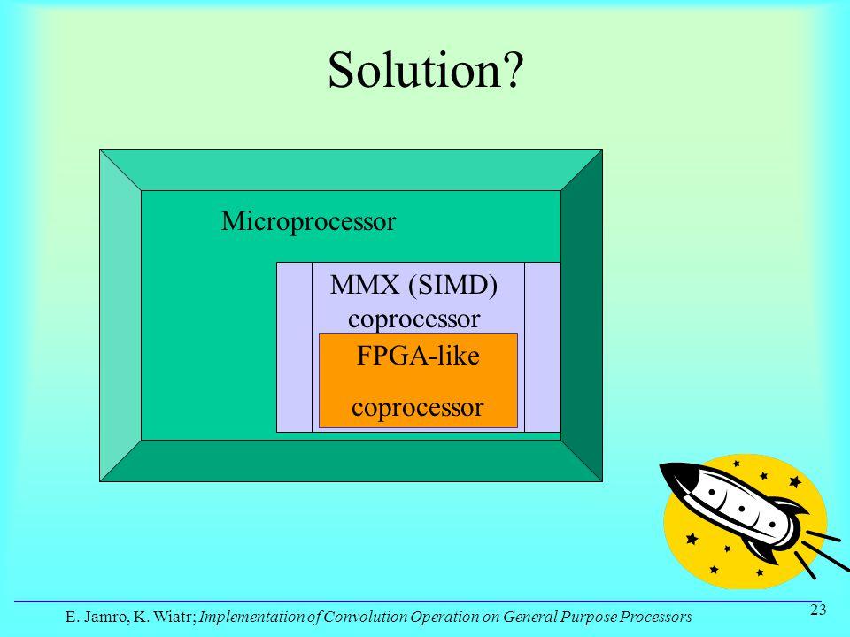 E. Jamro, K. Wiatr; Implementation of Convolution Operation on General Purpose Processors 23 Solution? Microprocessor MMX (SIMD) coprocessor FPGA-like