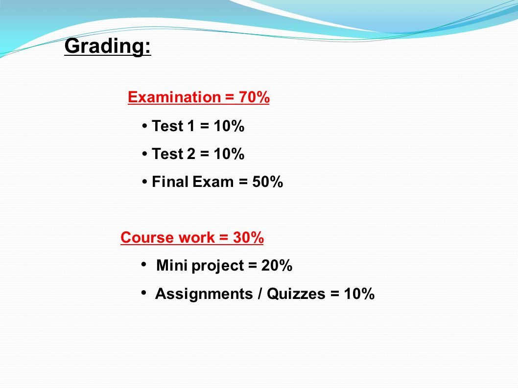 Grading: Examination = 70% Test 1 = 10% Test 2 = 10% Final Exam = 50% Course work = 30% Mini project = 20% Assignments / Quizzes = 10%