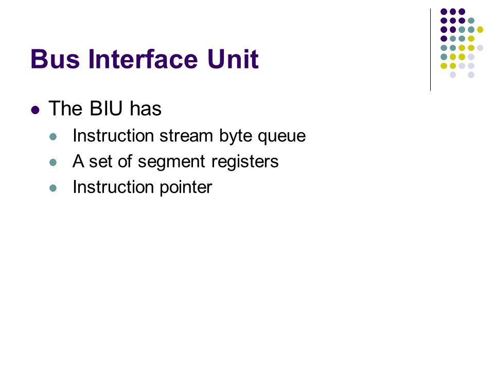 Bus Interface Unit The BIU has Instruction stream byte queue A set of segment registers Instruction pointer