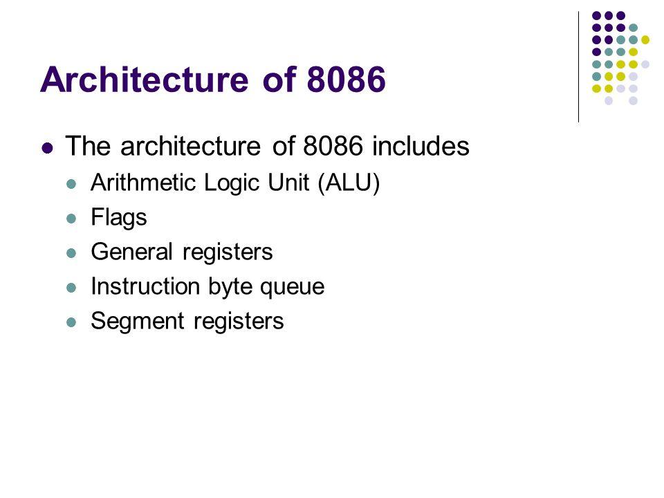 Architecture of 8086 The architecture of 8086 includes Arithmetic Logic Unit (ALU) Flags General registers Instruction byte queue Segment registers