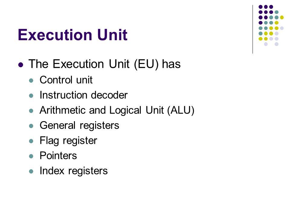 Execution Unit The Execution Unit (EU) has Control unit Instruction decoder Arithmetic and Logical Unit (ALU) General registers Flag register Pointers