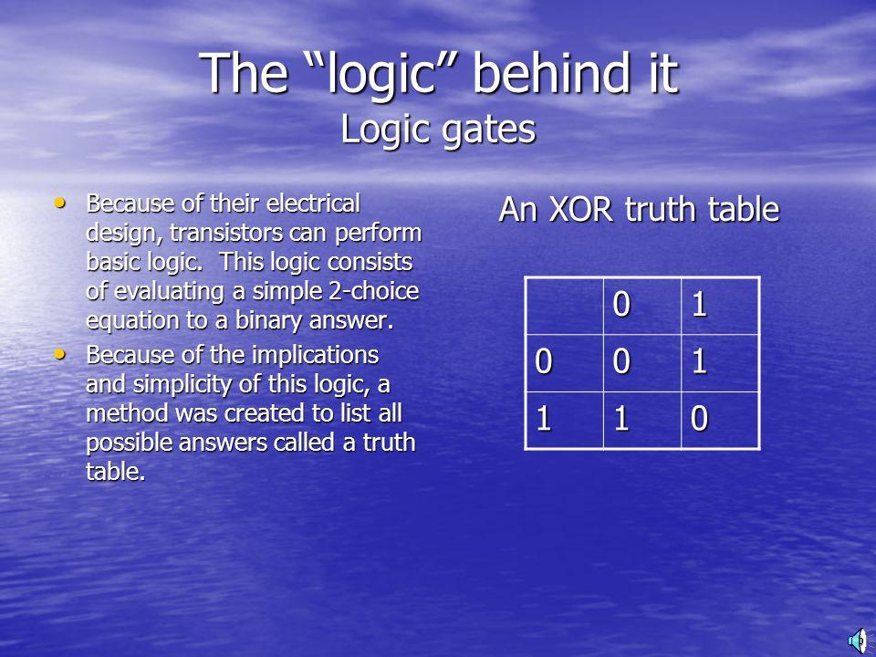 The logic behind it Logic gates Because of their electrical design, transistors can perform basic logic.