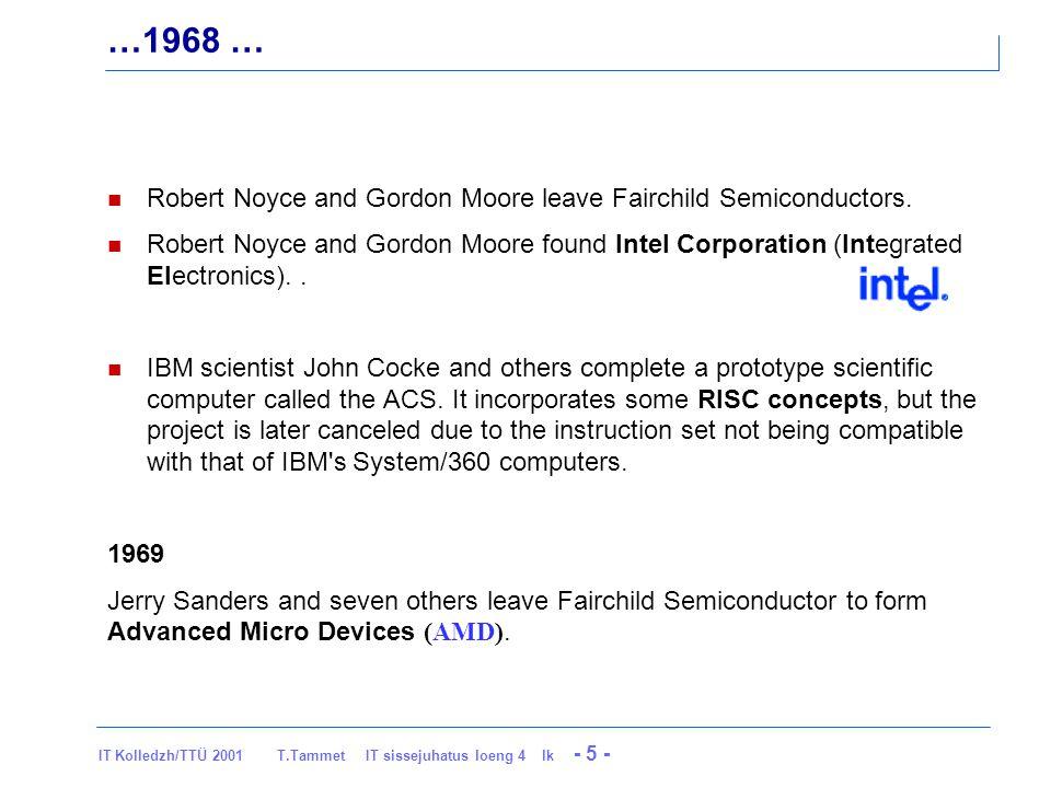 IT Kolledzh/TTÜ 2001 T.Tammet IT sissejuhatus loeng 4 lk - 16 - …1971 Niklaus Wirth invents the Pascal programming language.