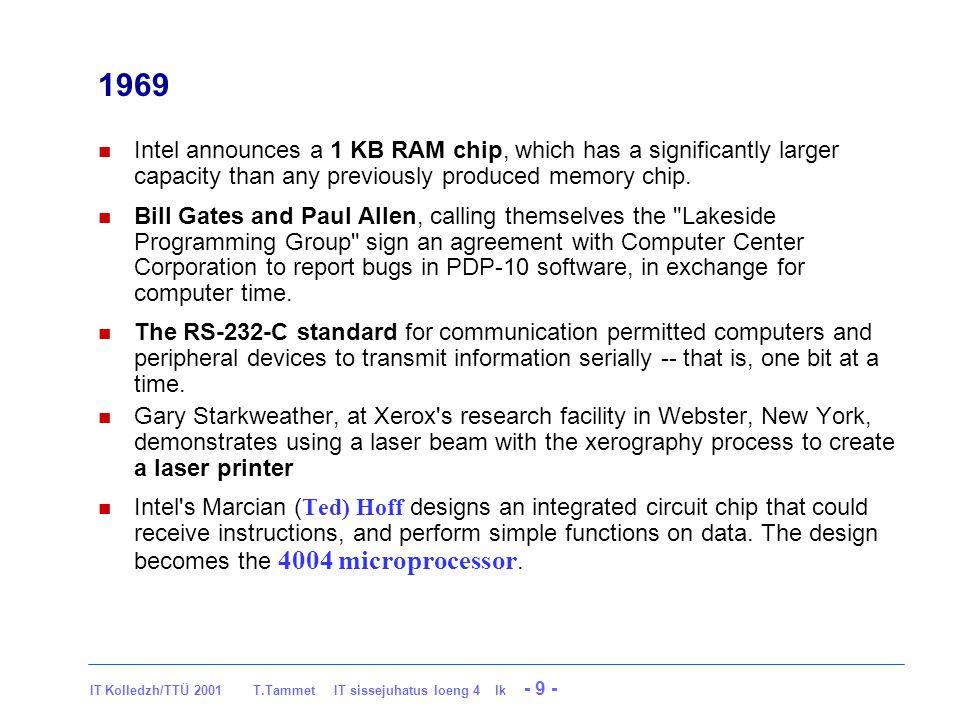 IT Kolledzh/TTÜ 2001 T.Tammet IT sissejuhatus loeng 4 lk - 10 - First microprocessor: Intel 4004 1969 The first microprocessor – CPU 1971 The first commercial 4-bit microprocessor 4004: -2,300 transistors -10 µm features -10 mm 2 die -108 kHz kHz