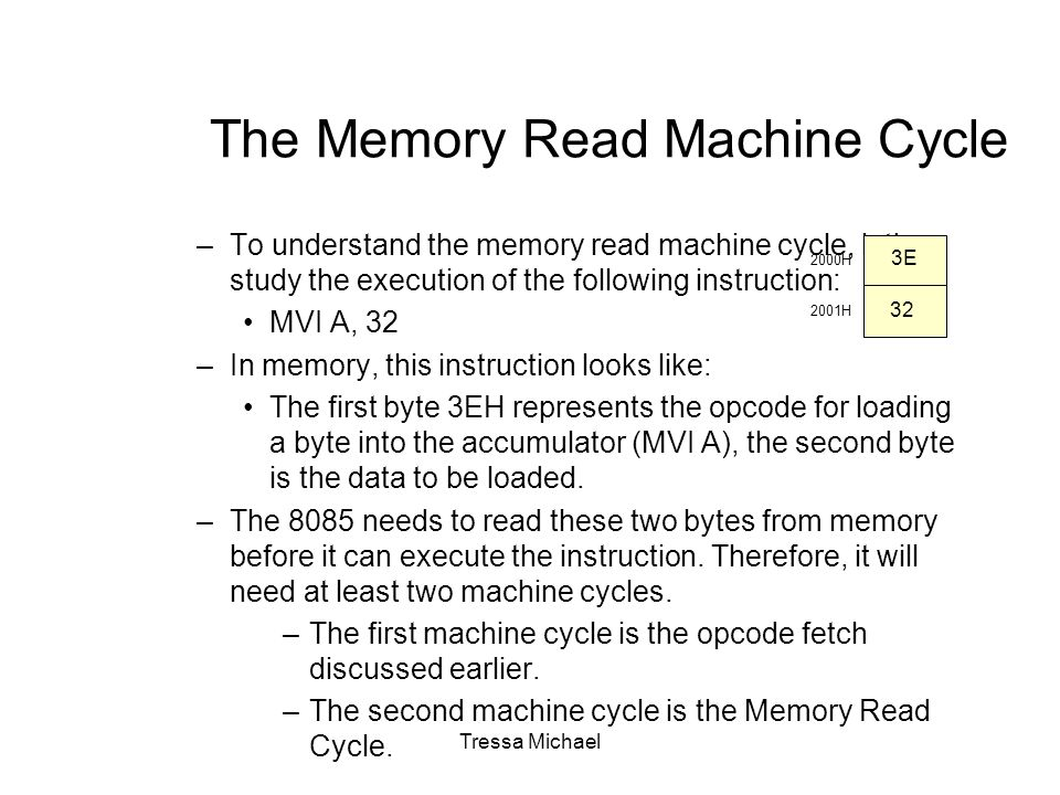 The Memory Read Machine Cycle –To understand the memory read machine cycle, let's study the execution of the following instruction: MVI A, 32 –In memory, this instruction looks like: The first byte 3EH represents the opcode for loading a byte into the accumulator (MVI A), the second byte is the data to be loaded.