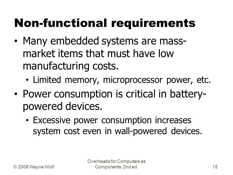 © 2008 Wayne Wolf Overheads for Computers as Components, 2nd ed. Real-time operation Must finish operations by deadlines. Hard real time: missing dead