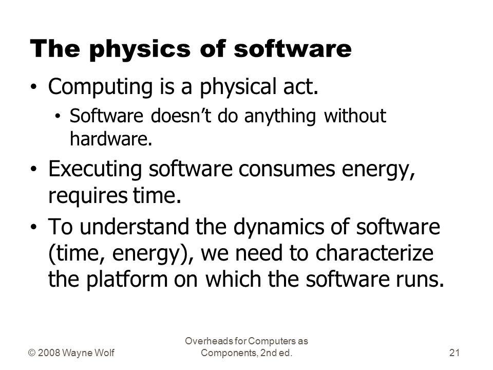Platforms Embedded computing platform: hardware architecture + associated software.