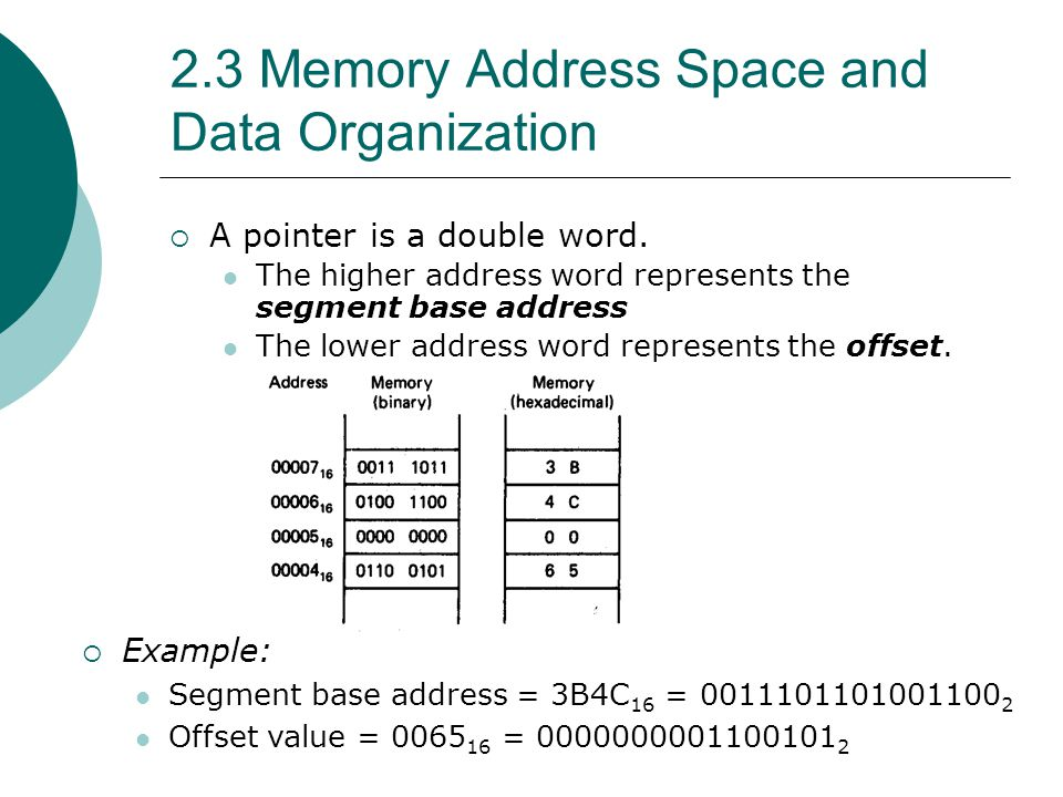 2.3 Memory Address Space and Data Organization  A pointer is a double word. The higher address word represents the segment base address The lower add