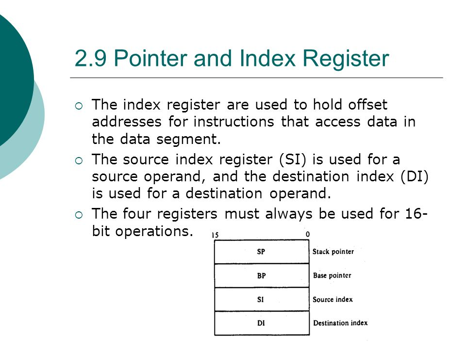 2.9 Pointer and Index Register  The index register are used to hold offset addresses for instructions that access data in the data segment.  The sou