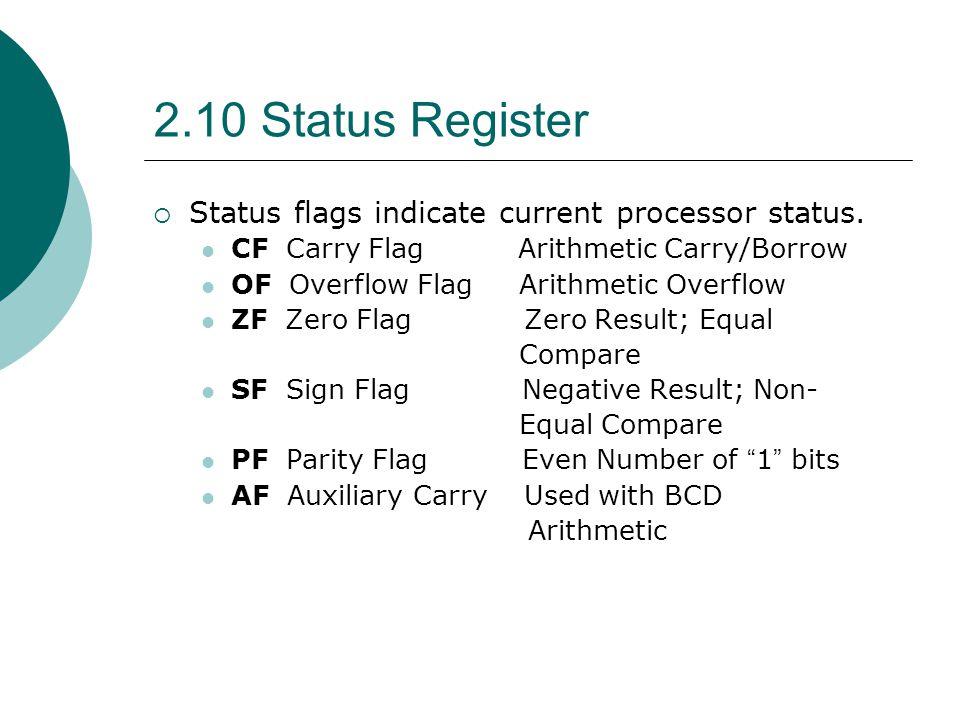 2.10 Status Register  Status flags indicate current processor status. CF Carry Flag Arithmetic Carry/Borrow OF Overflow Flag Arithmetic Overflow ZF Z