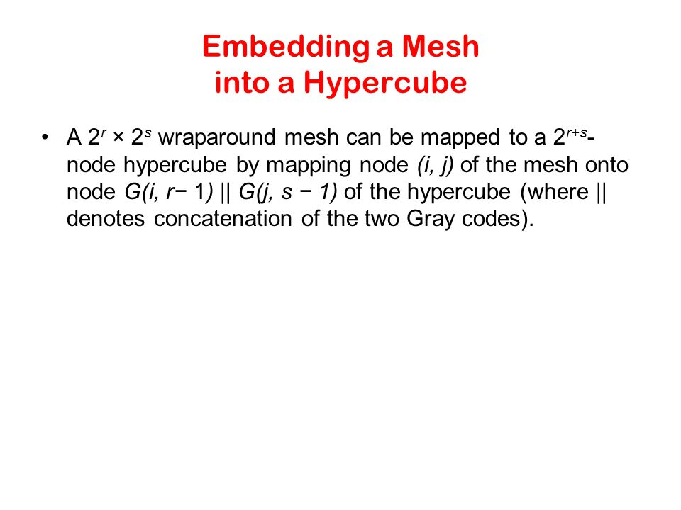 Embedding a Mesh into a Hypercube A 2 r × 2 s wraparound mesh can be mapped to a 2 r+s - node hypercube by mapping node (i, j) of the mesh onto node G(i, r− 1) || G(j, s − 1) of the hypercube (where || denotes concatenation of the two Gray codes).