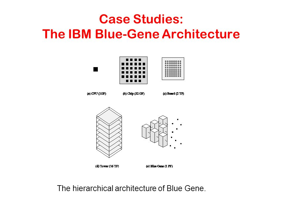 Case Studies: The IBM Blue-Gene Architecture The hierarchical architecture of Blue Gene.