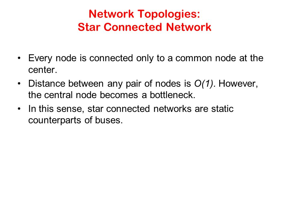 Network Topologies: Star Connected Network Every node is connected only to a common node at the center.