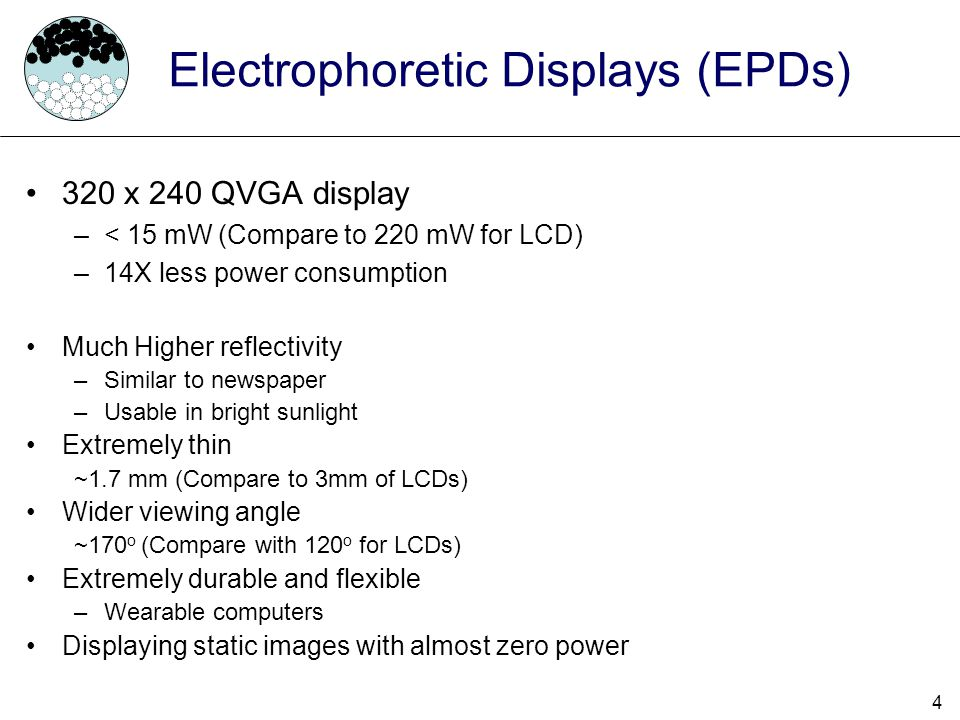 5 Agenda Electrophoretic Displays Contribution Previous Work EPD Power Model Display Driver –Naive Driver –Smart/Lazy Driver Results Conclusion