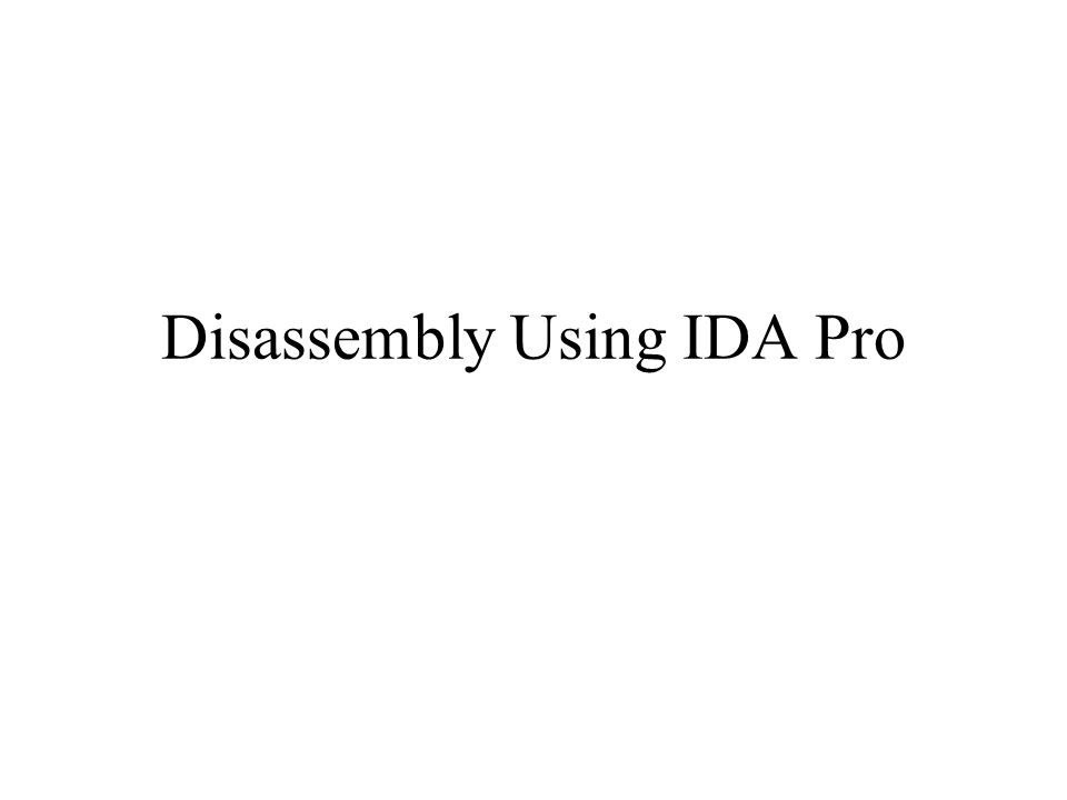 Disassembly Using IDA Pro