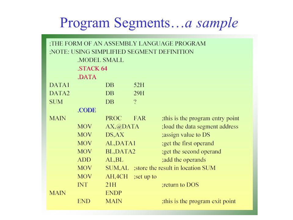 Program Segments…a sample