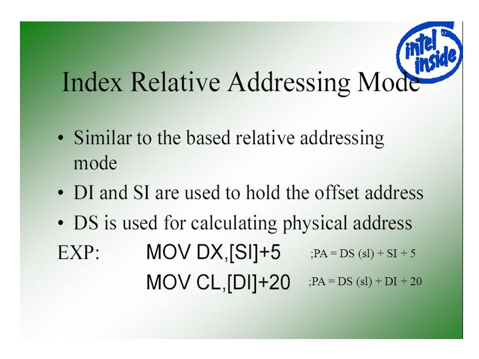 ;PA = DS (sl) + SI + 5 ;PA = DS (sl) + DI + 20