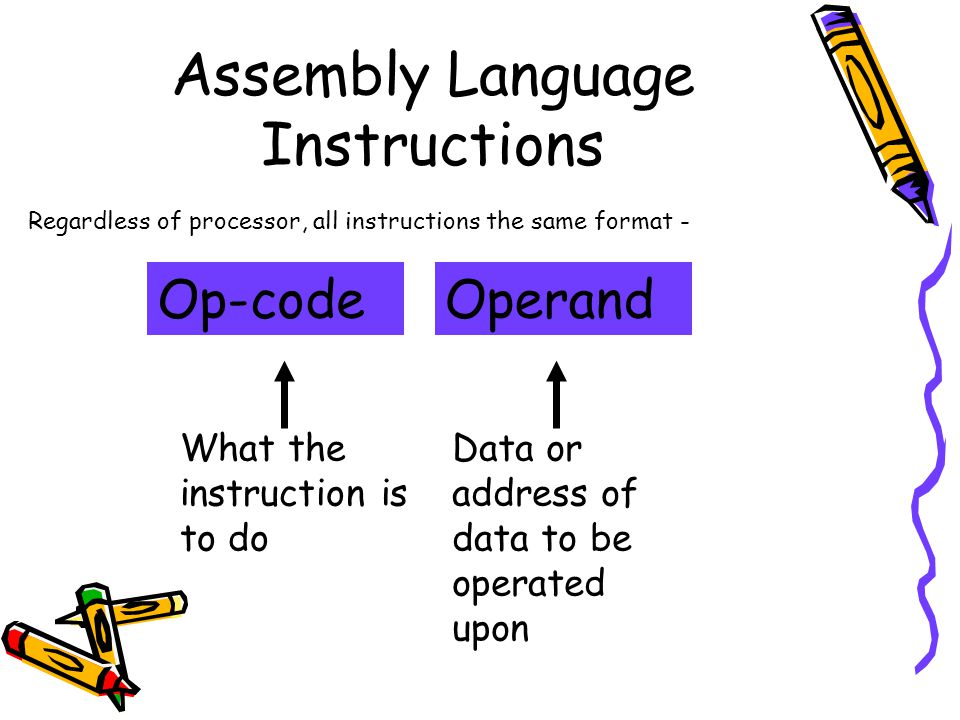 Assembly Language Instructions Op-codeOperand Data or address of data to be operated upon What the instruction is to do Regardless of processor, all instructions the same format -