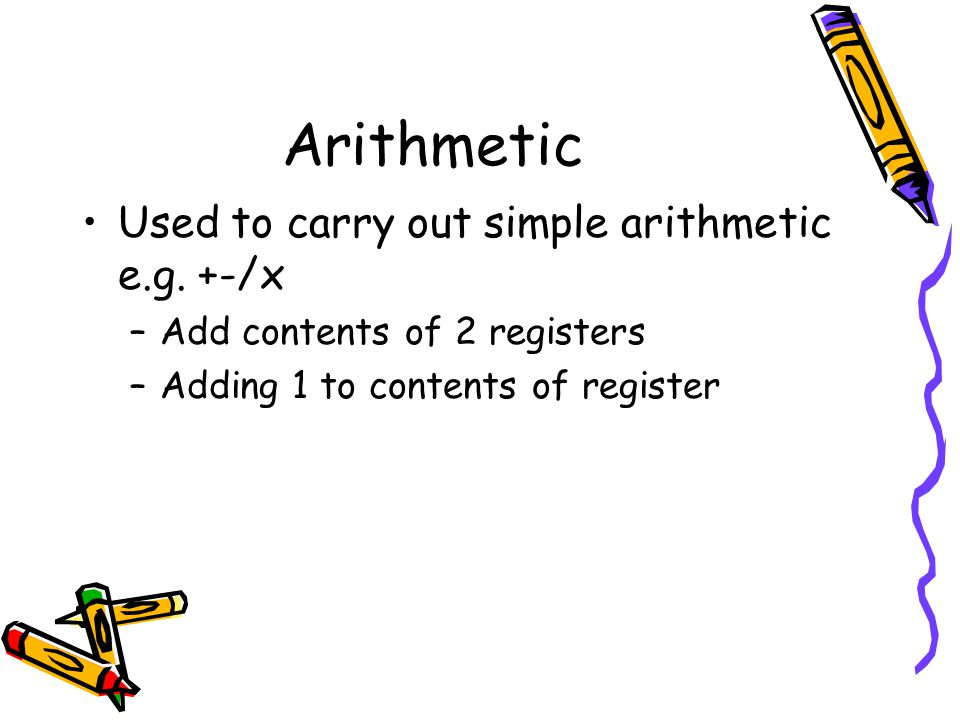 Arithmetic Used to carry out simple arithmetic e.g. +-/x –Add contents of 2 registers –Adding 1 to contents of register