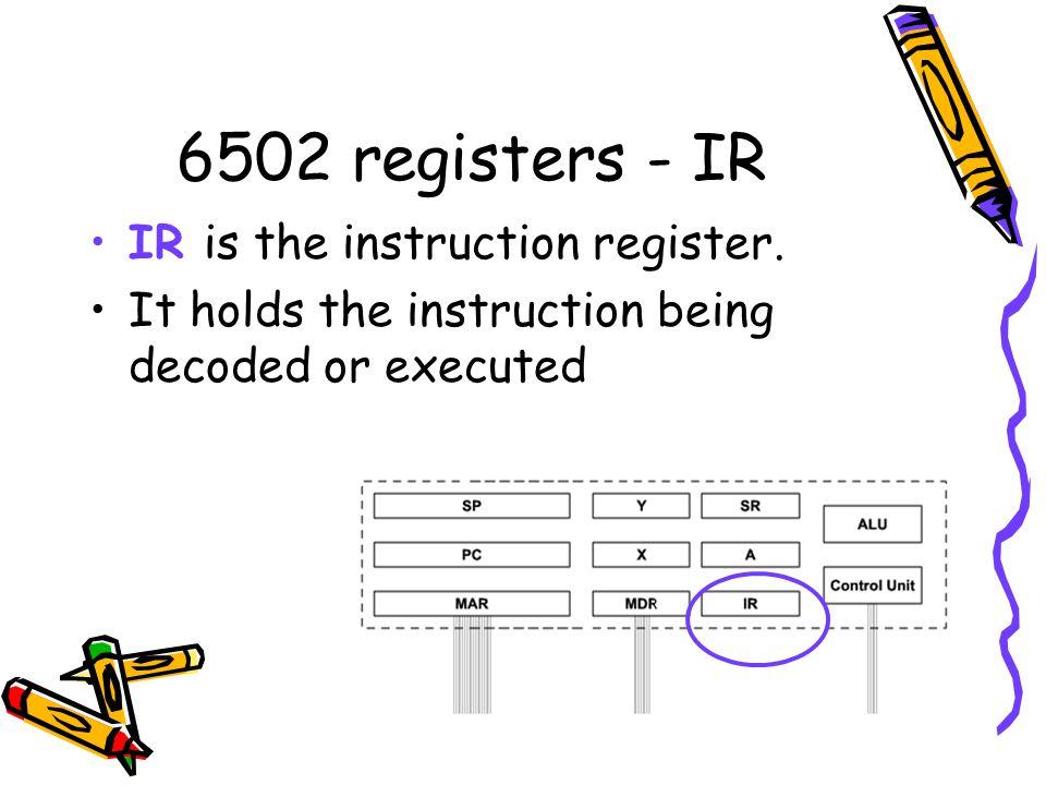 6502 registers - IR IR is the instruction register.