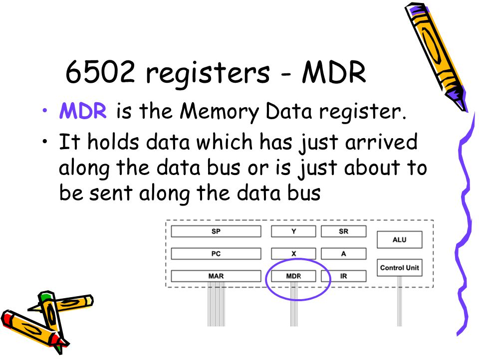 6502 registers - MDR MDR is the Memory Data register. It holds data which has just arrived along the data bus or is just about to be sent along the da
