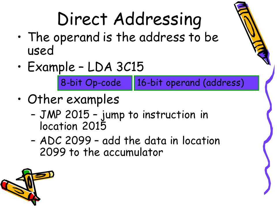 Direct Addressing The operand is the address to be used Example – LDA 3C15 Other examples –JMP 2015 – jump to instruction in location 2015 –ADC 2099 – add the data in location 2099 to the accumulator 16-bit operand (address)8-bit Op-code