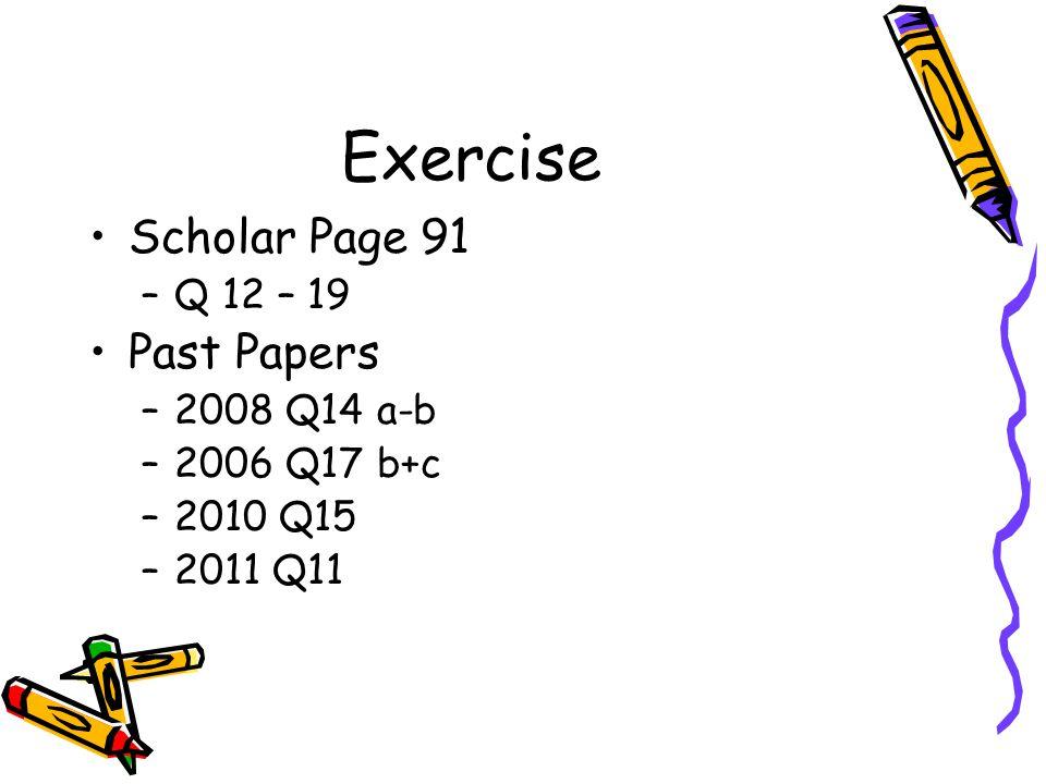 Exercise Scholar Page 91 –Q 12 – 19 Past Papers –2008 Q14 a-b –2006 Q17 b+c –2010 Q15 –2011 Q11