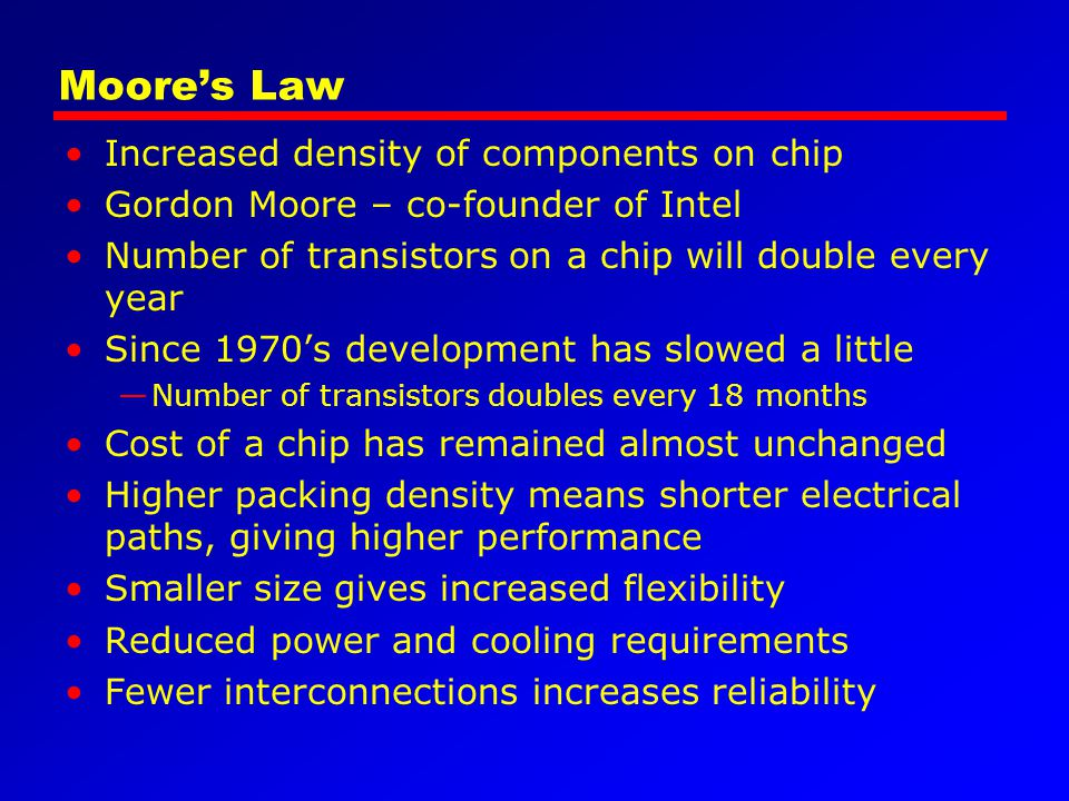 Moore's Law Increased density of components on chip Gordon Moore – co-founder of Intel Number of transistors on a chip will double every year Since 19