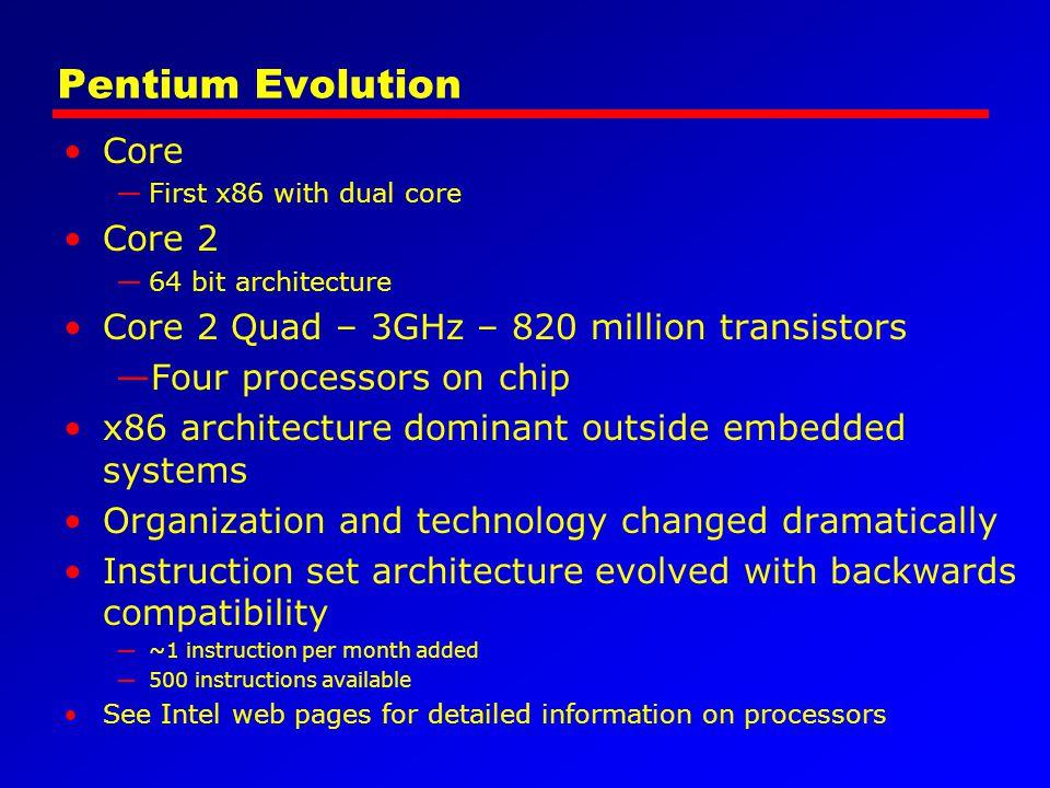 Pentium Evolution Core —First x86 with dual core Core 2 —64 bit architecture Core 2 Quad – 3GHz – 820 million transistors —Four processors on chip x86