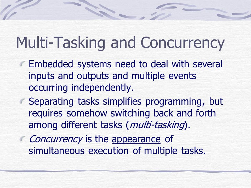Software Programs must be logically and temporally correct Must deal with inherent physical concurrency Reactive systems Reliability and fault-tolerance are critical issues Application Specific and single purpose