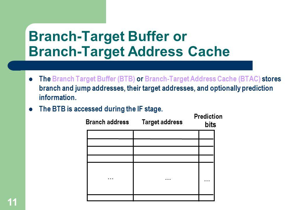 11 Branch-Target Buffer or Branch-Target Address Cache The Branch Target Buffer (BTB) or Branch-Target Address Cache (BTAC) stores branch and jump add