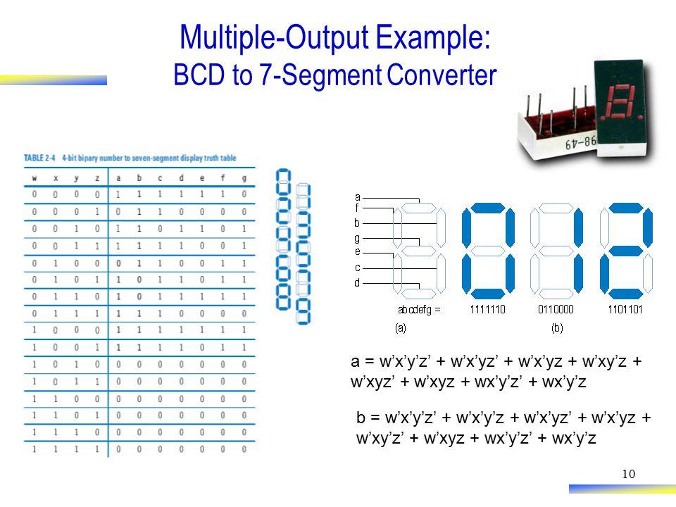 10 Multiple-Output Example: BCD to 7-Segment Converter a = w'x'y'z' + w'x'yz' + w'x'yz + w'xy'z + w'xyz' + w'xyz + wx'y'z' + wx'y'z b = w'x'y'z' + w'x