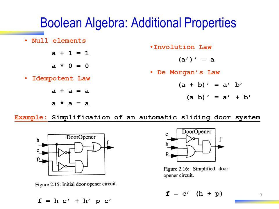 7 Boolean Algebra: Additional Properties Null elements a + 1 = 1 a * 0 = 0 Idempotent Law a + a = a a * a = a Involution Law (a')' = a De Morgan's Law