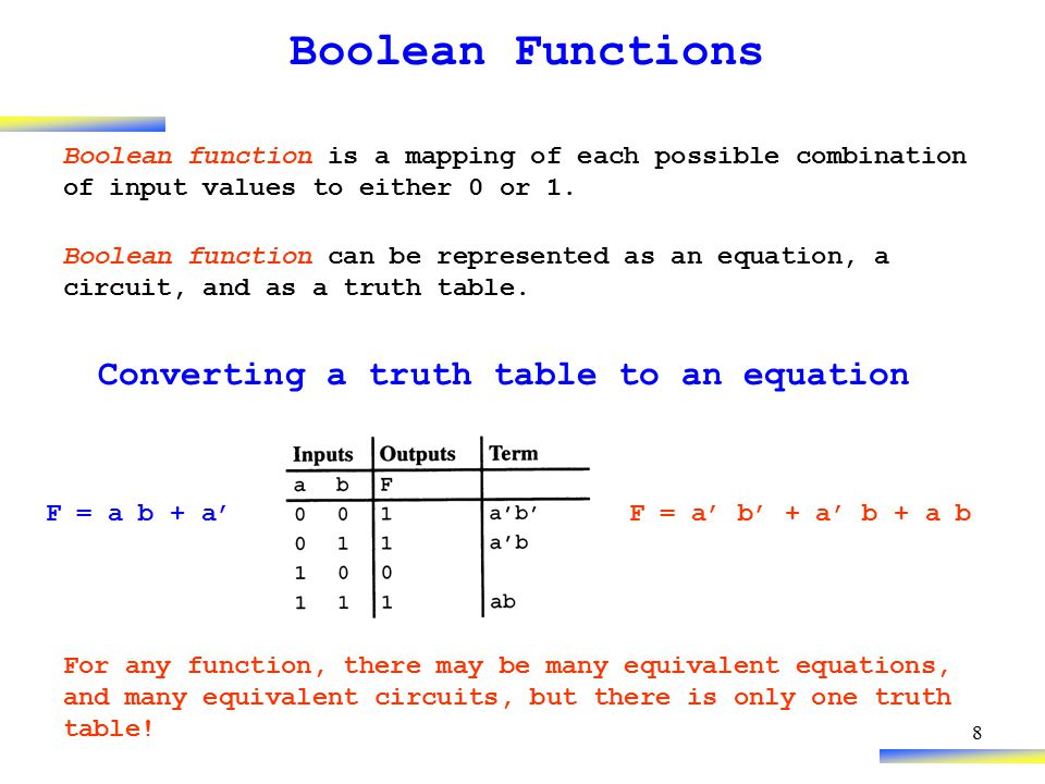 8 Boolean Functions Boolean function is a mapping of each possible combination of input values to either 0 or 1. Boolean function can be represented a