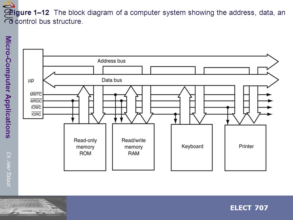 Dr. Amr Talaat ELECT 707 Micro-Computer Applications Figure 1–12 The block diagram of a computer system showing the address, data, an d control bus st