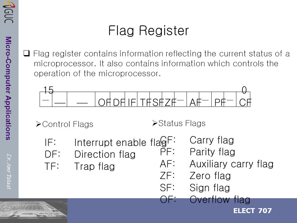 Dr. Amr Talaat ELECT 707 Micro-Computer Applications Flag Register  OFDFIFTFZFSF  AFPFCF  015  Control Flags  Status Flags IF:Interrupt enable f